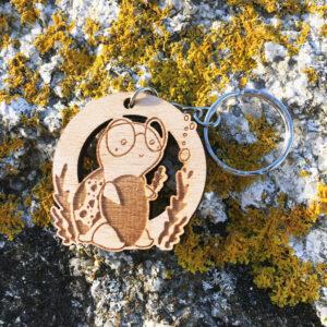 Porte-clés en bois Albert la tortue de mer