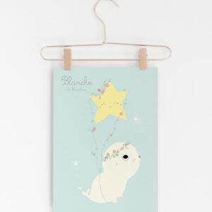 affiche blanche le blanchon ou phoque polaire