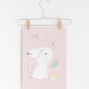 affiche A4 isobel le lievre arctique rose