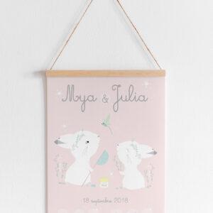 affiche jumelle lapin rose