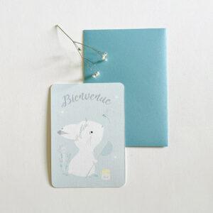 carte naissance lapin bleu