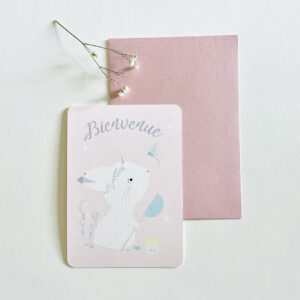 carte naissance lapin rose