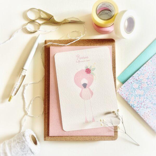 carte flamant rose